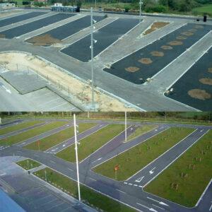 Aparcamiento vegetado polideportivo de la Guia, Gijon (Asturias)